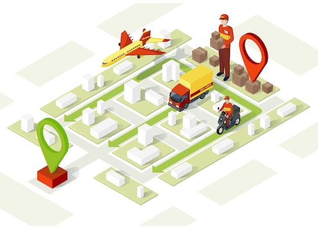 Illustration isométrique de livraison intelligente