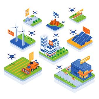 Illustration isométrique moderne - technologie des drones