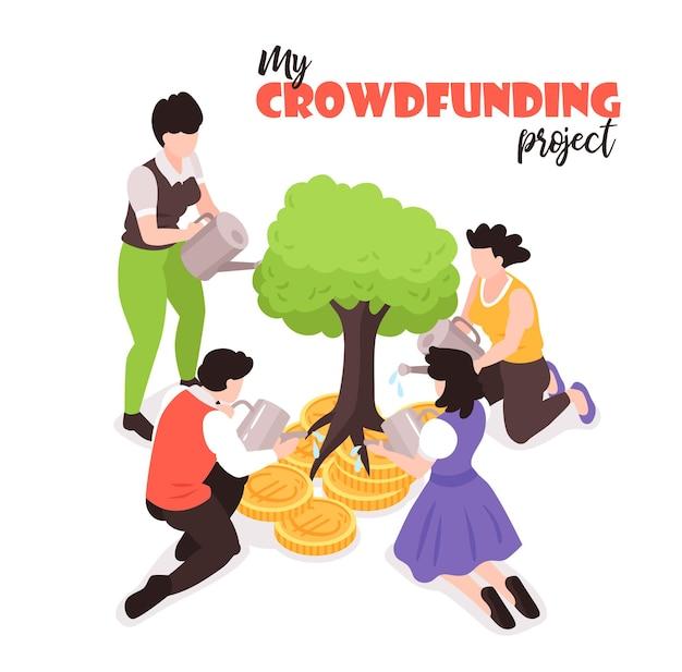 Illustration isométrique de mon projet de financement participatif