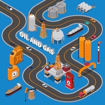 Illustration isométrique de pétrole et de gaz