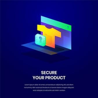 Illustration isométrique pour la sécurité du produit