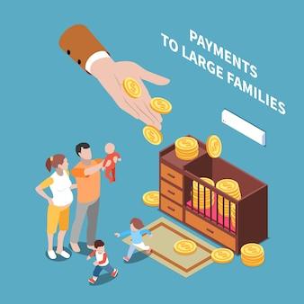 Illustration isométrique des prestations de sécurité sociale