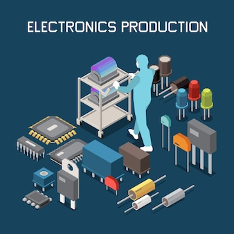 Illustration isométrique de la production de puces à semi-conducteurs