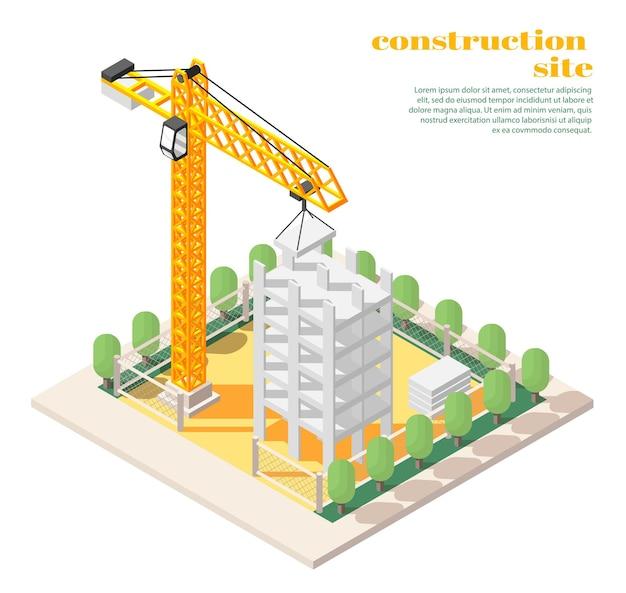 Illustration isométrique des projets de génie civil en architecture