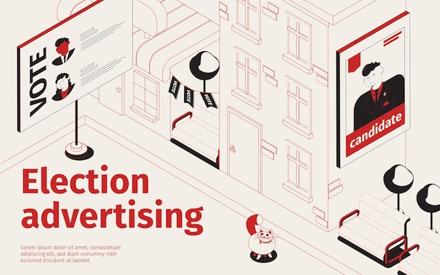 Illustration isométrique de la publicité électorale avec des panneaux d'affichage avec des portraits de candidats élus