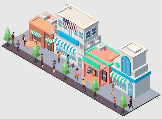 Illustration isométrique d'une rangée de magasins divers