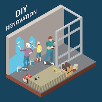 Illustration isométrique de rénovation bricolage
