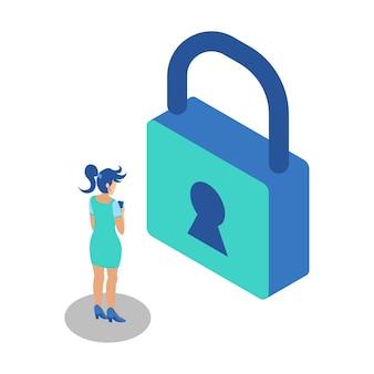 Illustration isométrique représentant une femme debout avec un téléphone pour déverrouiller le cadenas