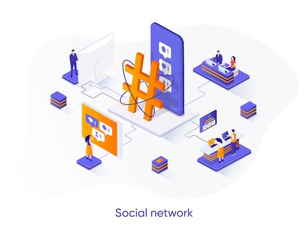 Illustration isométrique de réseau social avec des personnages de personnes