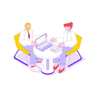 Illustration isométrique de réunion d'affaires avec deux employés de bureau 3d