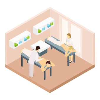 Illustration isométrique de la salle de massage