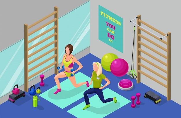 Illustration isométrique de séance d'entraînement de remise en forme