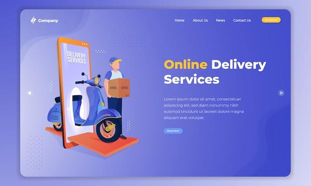 Illustration isométrique sur le service de livraison en ligne sur le concept de page de destination