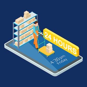 Illustration isométrique des services en ligne de livraison 24 heures