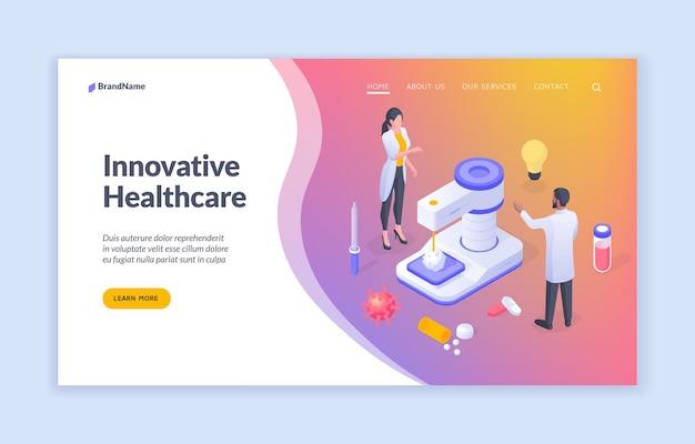 Illustration isométrique de soins de santé innovants pour le modèle de site web