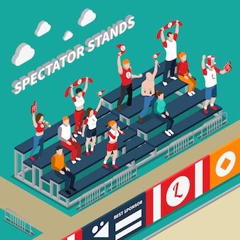 Illustration isométrique des stands de spectateurs avec ventilateurs