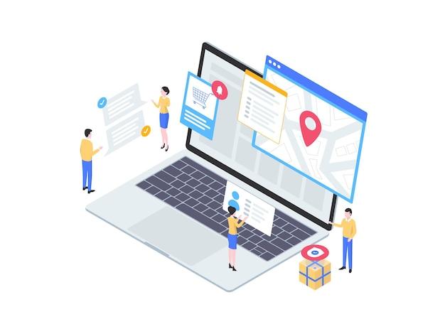 Illustration isométrique de suivi du commerce électronique. convient pour les applications mobiles, les sites web, les bannières, les diagrammes, les infographies et autres éléments graphiques.