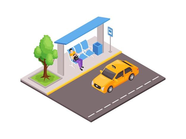 Illustration isométrique des transports publics de la ville avec un homme à l'abribus et un taxi jaune sur la route