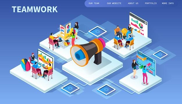 Illustration isométrique de travail d'équipe. affaires .