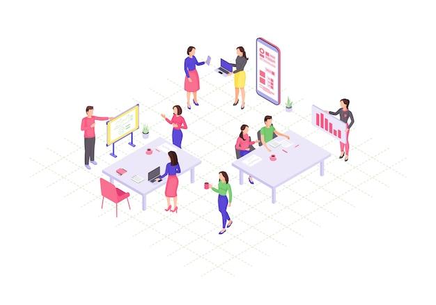 Illustration isométrique de travail d'équipe