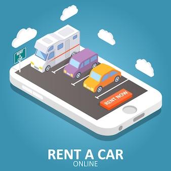 Illustration isométrique de vecteur de location de voiture en ligne