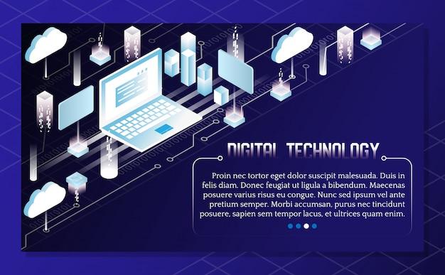 Illustration isométrique de vecteur de technologie numérique