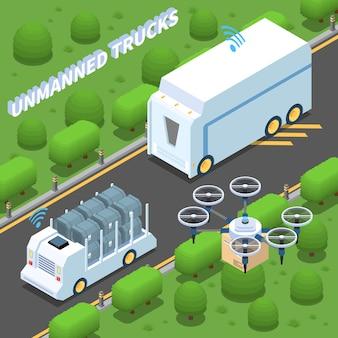 Illustration isométrique de voiture autonome
