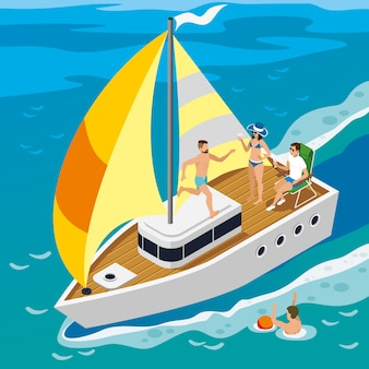 Illustration isométrique de yacht de personnes riches