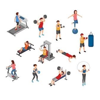 Illustration isométrique yoga et gym