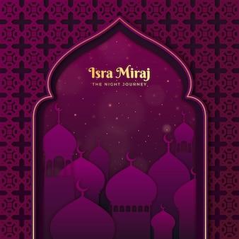 Illustration d'isra miraj dans un style papier avec lune