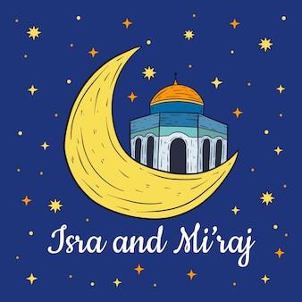 Illustration d'israël miraj dessinée à la main avec la lune