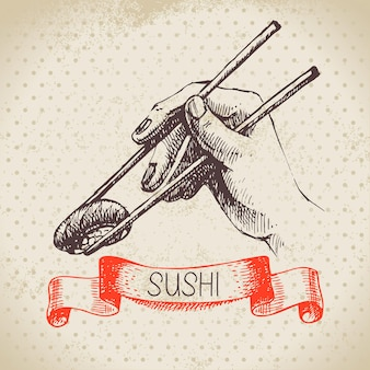 Illustration japonaise dessinée à la main. fond de croquis et aquarelle