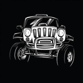 Illustration jeep race noir et blanc