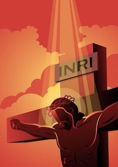 Une Illustration De Jésus Sur La Croix Portant Une Couronne D'épines. Série Biblique Vecteur Premium