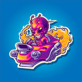 Illustration de jet extraterrestre hot rod