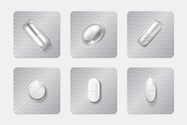 Illustration de jeu d'ampoules de pilule réaliste