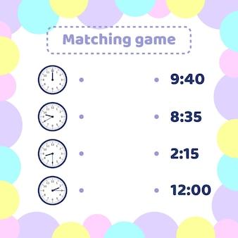 Illustration. jeu d'association pour les enfants d'âge préscolaire et scolaire. quelle heure est-il autour de la montre.