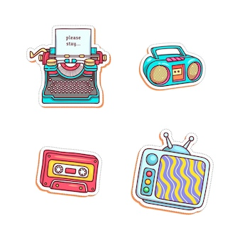 Illustration de jeu d'autocollants colorés et divers
