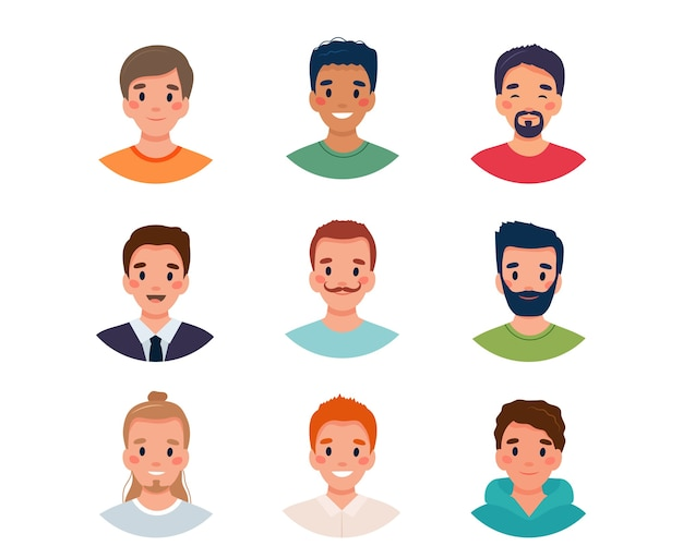 Illustration de jeu d'avatar hommes
