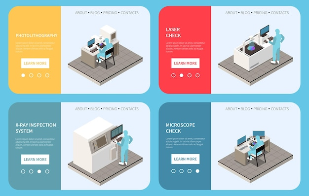 Illustration de jeu de bannière de production de puces semi-conductrices