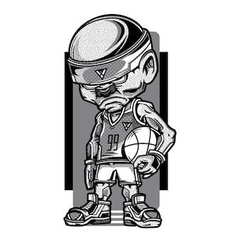Illustration de jeu de basket-ball en noir et blanc