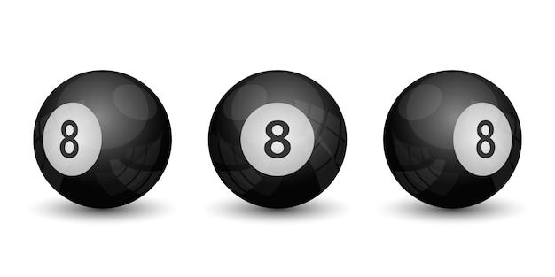 Illustration de jeu de billard à huit balles isolé sur blanc