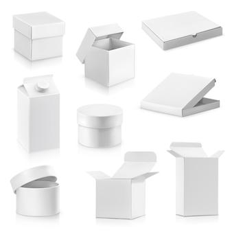 Illustration de jeu de boîtes en carton blanc