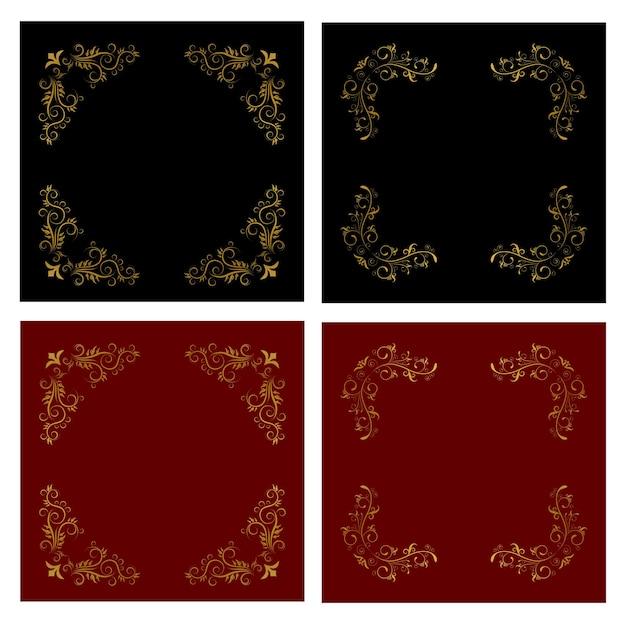 Illustration de jeu de cartes vintage cadre doré floral