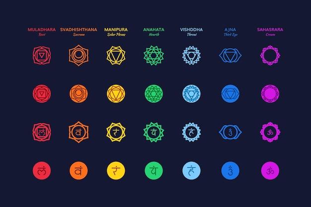 Illustration de jeu de chakras