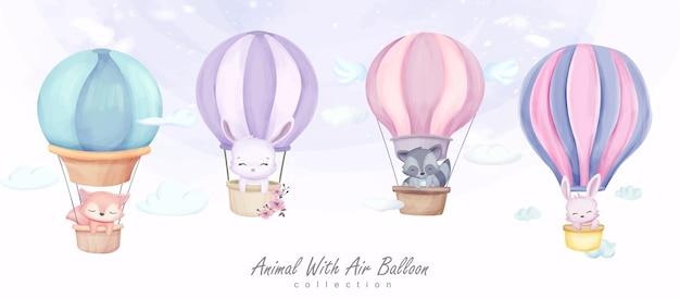 Illustration de jeu de collection de bébé animal et ballon à air