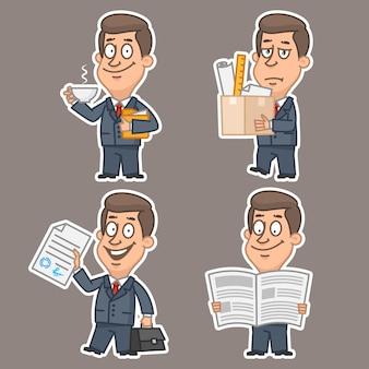 Illustration, jeu de concept d'autocollants d'homme d'affaires amusant 1, format eps 10