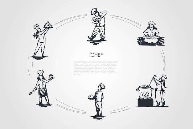 Illustration de jeu de concept de chef