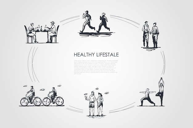 Illustration de jeu de concept de mode de vie sain