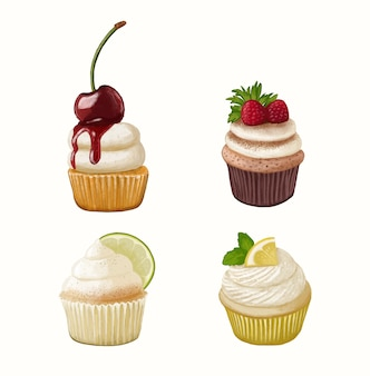 Illustration de jeu de cupcake dessinés à la main